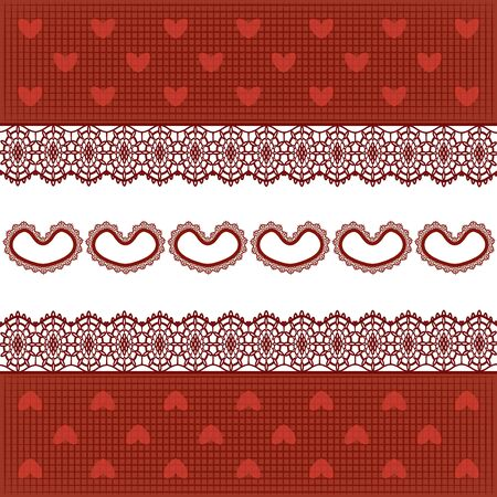 fabric with hearts and lace on white background Vector
