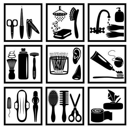 health care facility: silhouette icons of personal hygiene for everyone Illustration