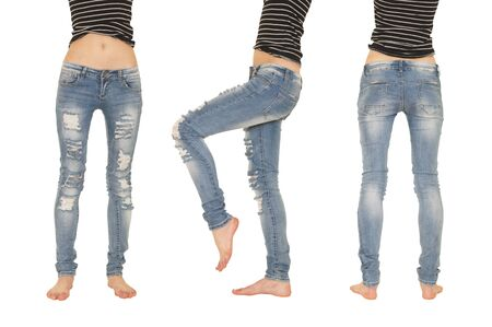 collage female legs in jeans isolated on white Stock Photo