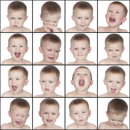 emotional: different emotions cute little boy on a white background