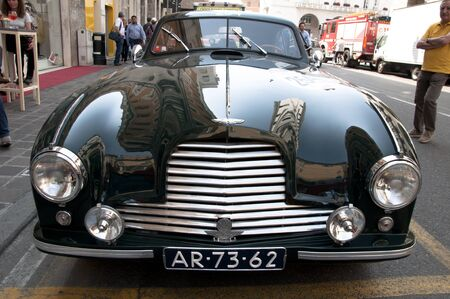 db: BRESCIA,ITALY - MAY,13:Registration of participants of the famous race retro cars Mille Miglia, May 13,2015 in Brescia,Italy.ASTON MARTIN DB 2, 1952 built