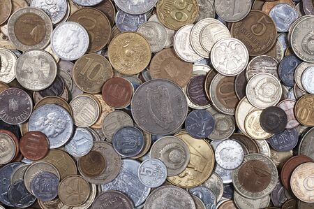 different countries: collection of coins from different countries Stock Photo
