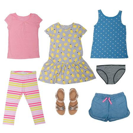 collage of summer baby clothes on a white background