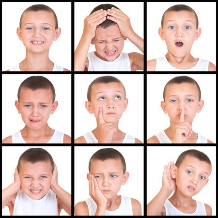 las emociones: conjunto de emociones niño aislado en blanco Foto de archivo