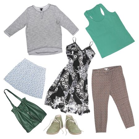 collage: set of female clothing and accessories