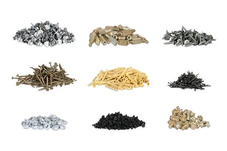 assemblies: set of nails, screws and nuts isolated on white