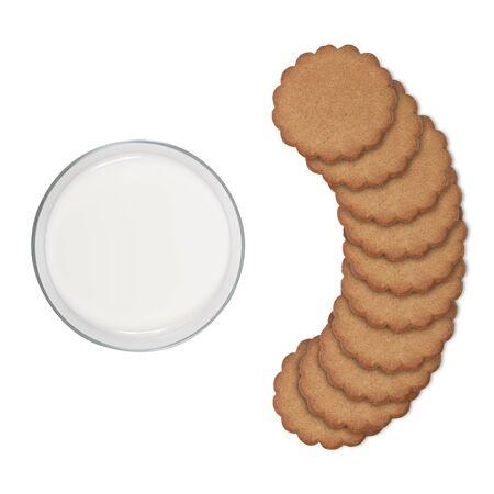santa cena: vaso de leche y galletas aislados vista superior