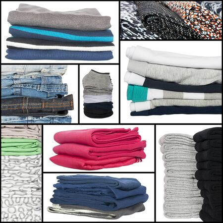 neatly stacked: set of neatly stacked clothes isolated on white Stock Photo