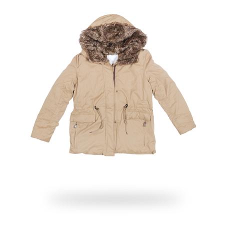 white winter: female winter jacket isolated on white Stock Photo
