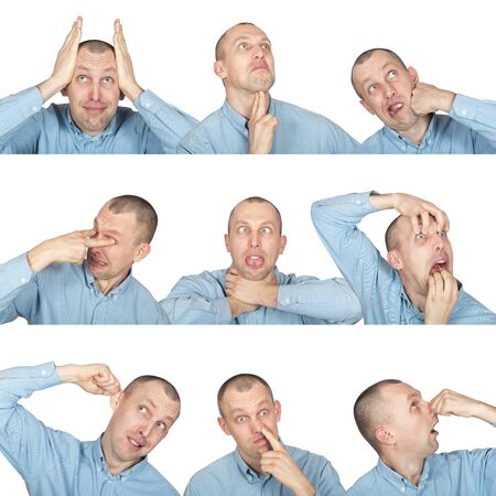 fooling: funny faces, man fooling around isolated on white Stock Photo