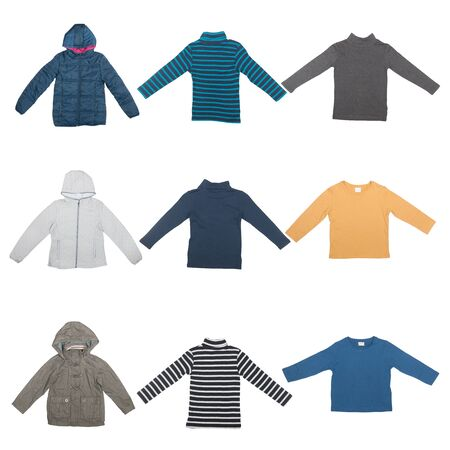 seasonal clothes: set of seasonal clothes jackets and sweaters isolated