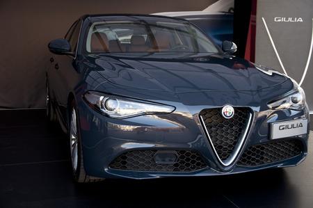 alfa: BRESCIA, ITALY - MAY 21, 2016: exhibition Alfa Romeo Giulia Super, diesel 180 hp 2.2 turbo RWD MT6