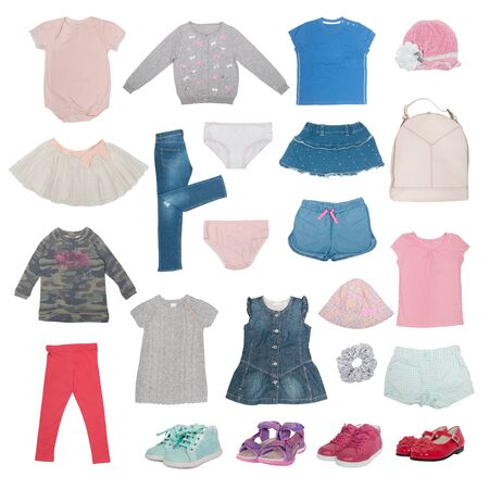 collage of summer baby clothes isolated on white