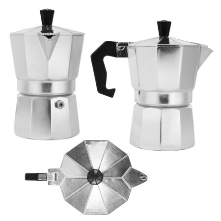 italian coffee maker isolated on white background