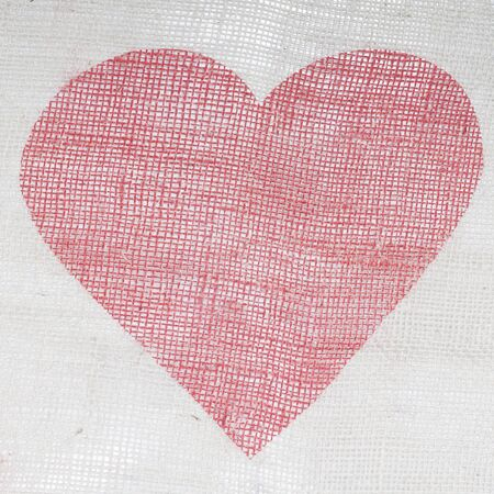 fabric with a painted red heart on it Stock Photo
