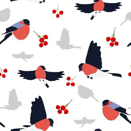 Bullfinches and berries pattern.