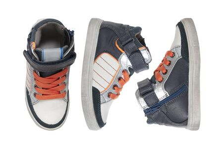 sneakers for boy isolated on white, view from different sides 写真素材