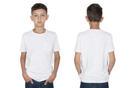 teenager boy in a white T-shirt front and back view Stock Photo