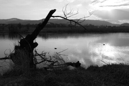 foreshortening: Foreshortening of Lake Posta Fibreno