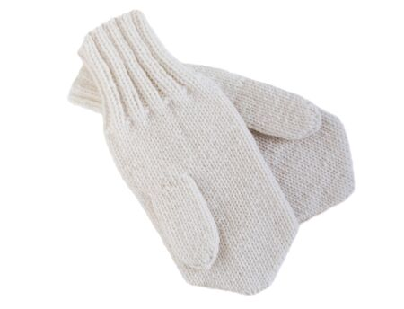 mittens: Mittens woolen knitted on a white background. Hand knitting. Stock Photo
