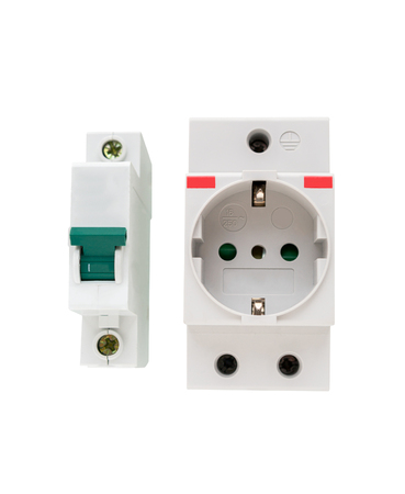 Electric circuit breaker and socket, power outlet isolated on a white background
