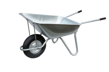 Wheelbarrow isolated on white background. Garden metal wheelbarrow cart Stockfoto