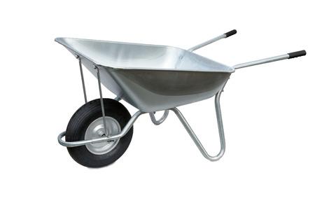 Wheelbarrow isolated on white background. Garden metal wheelbarrow cart Stok Fotoğraf