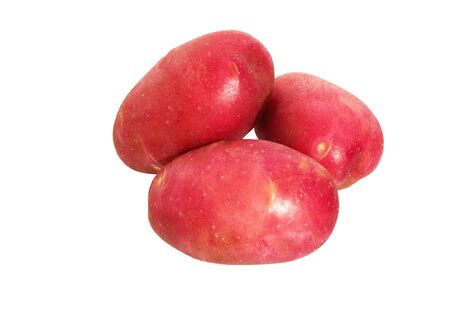Potatoes isolated on white background. Pile of red potatoes.