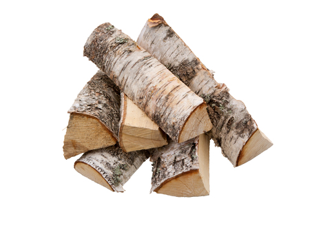 Pile of firewood isolated on a white background. Logs of birch fire wood- Clipping Path. 写真素材 - 104189926