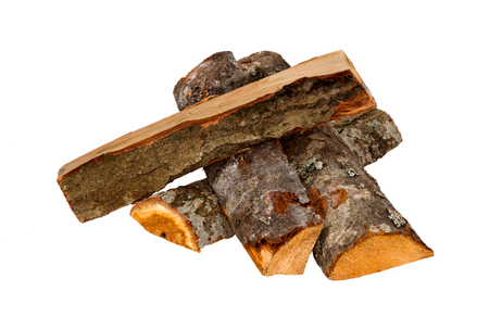 Firewood isolated on a white background. Logs of fire wood- Clipping Path. Фото со стока