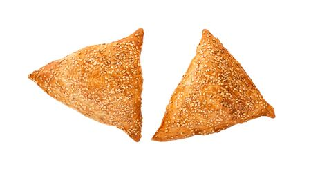 Puff pastries with meat, samosa, oriental Asian cuisine.   Samosas snack on white background.  Asian food. Stock Photo