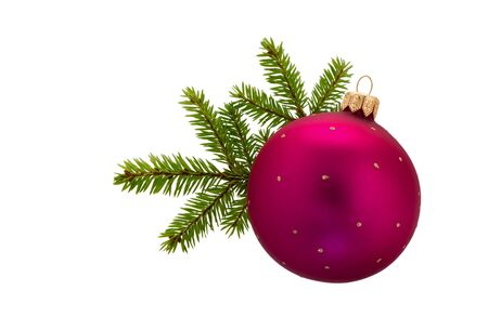 Fir tree branches with Christmas ball isolated on white background. Christmas decoration.