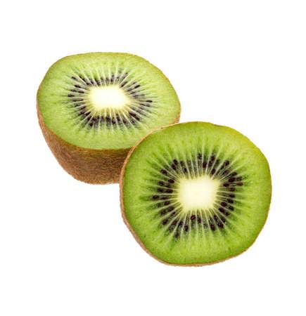 Kiwi fruit isolated on white background. Whole kiwi fruit and sliced segments cut out. Reklamní fotografie