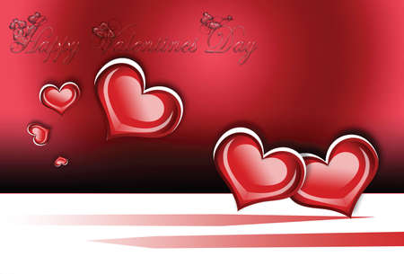 Valentines day illustration with hand written greeting and hearts