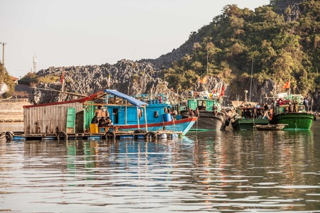 Ha Long Bay, Vietnam-December 18, 2013  Vietnamese fishermen are relaxing on their fishing boats and houseboat in Ha Long Bay at Cat Ba island harbour in north Vietnam on December 18, 2013  This is a common style of life in Vietnam