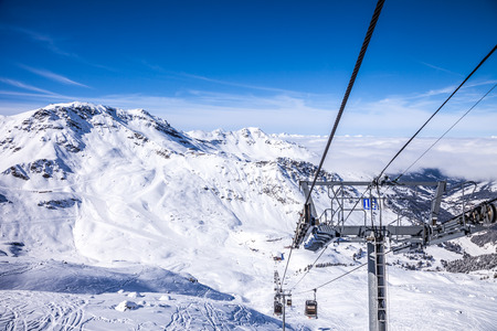 View from top of the mountain to the funicular at French Alps in Meribel. photo