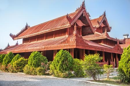 Myanmar, house of Mandalay Royal Palace in Mandalay city.