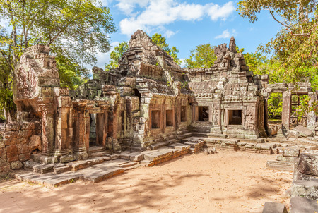 Banteay Kdei Temple ruins at Angkor Wat complex in Cambodia. Banteay Kdei had been occupied by monks at various intervals over the centuries until the 1960. Stock Photo