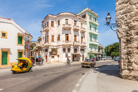 Havana, Cuba-8 October, 2016. Street scene in the old part of the city with the beautiful Spanish house on 8 of October 2016 in Havana, Cuba.