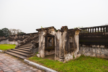 Old ruins left from buildings of the royal city at the garden inside of Imperial Forbidden city complex in Citadel