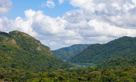 Parque Natural Topes de Collantes. View of the Sierra of Escambray at Cienfuegos Province mountainous system of the central area of Cuba.