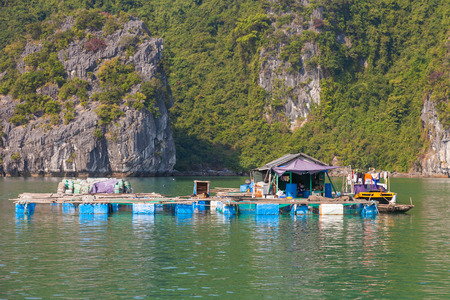 Ha Long Bay, Vietnam-December 20, 2013. One of living platform of floating fishing village with little house of family inside having lunch and dog shelter on December 20, 2013 in Ha Long Bay in north Vietnam.