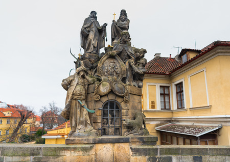 Prague, Czech Republic. Statues of Saints John of Matha, Felix of Valois, and Ivan on the Charles Bridge.