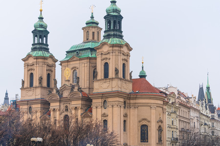 Prague, Czech Republic. St. Nicholas Cathedral at Old Town square