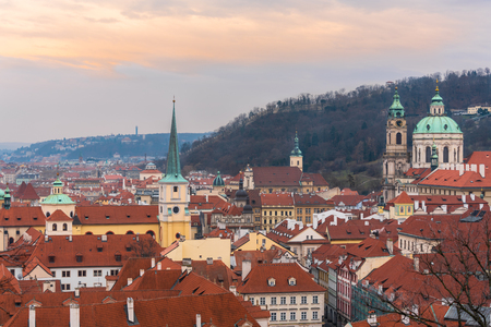 Prague, Czech republic. View of rooftops of historical buildings of old town from Prague Castle.