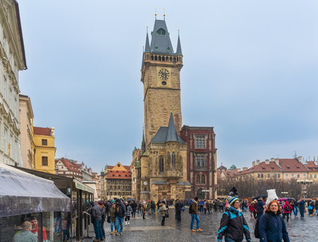 Prague, Czech Republic-February 02, 2019. Old Town Square, historic square in the Old Town quarter of Prague and a medieval astronomical clock mounted on the Old Town Hall tower, opened to the public.