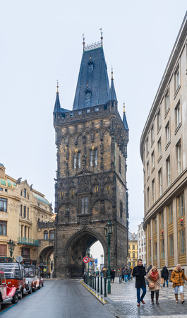 Prague, Czech Republic-February 2, 2019. Powder Tower, which formerly served as a gunpowder store, is still the starting point for the Coronation or Royal Route to Prague Castle on February 02, 2019 報道画像