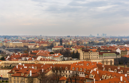 Prague, Czech Republic. View of rooftops of historical buildings on winter of Old Town from Prague Castle view point. 報道画像