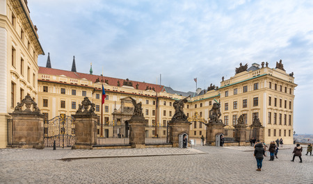 Prague, Czech Republic-February 1, 2019. Main entrance with the Matthias Gate of Prague Castle. Castle was rebuilt in the 18th century and integrated the Matthias Gate into the entrance tract.