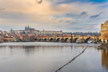 Prague, Czech republic. Charles Bridge (Karluv most) is a stone Gothic bridge that connects the Old Town and Lesser Town (Mala Strana).